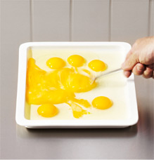 Beat the eggs with a fork, not a mixer